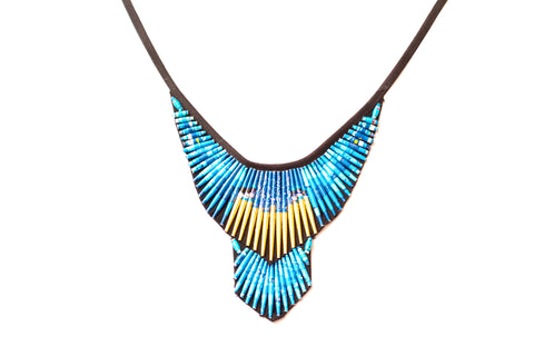 Beaded Bib Necklace Blue