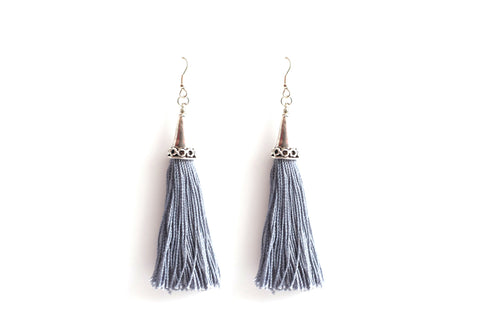Tasseled Gray Earrings