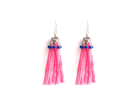 Tasseled Pink Earrings