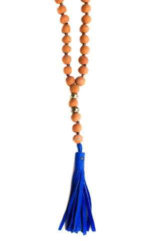 Terra Cotta Prayer Necklace Blue
