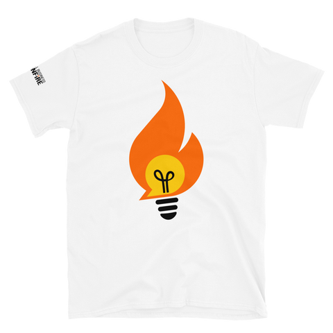 Bonfire T-Shirt with Logo on Sleeve - White
