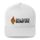 Embroidered Bonfire Logo Trucker Cap - White