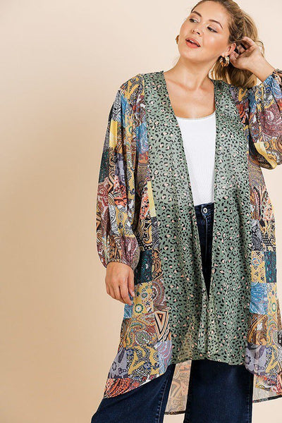 Samantha Sheer Animal Scarf Mixed Print Long Puff Sleeve Open Front Long Kimono