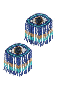 Evil Eye Drop Fringe Earring