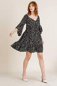 Dalmatian Black Print Ruffle Bell Sleeve Sweetheart Neckline Dress