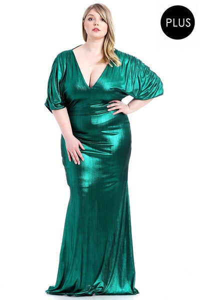 Christina Metallic Ribbed Deep V-Neck Dress