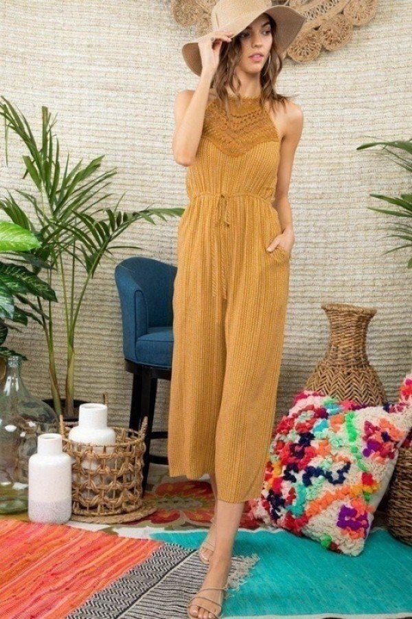 Sunshine Love Lace Patch Detail Printed Jumpsuit
