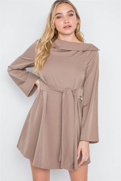 Megan Boat Neck Solid Front-tie Dress