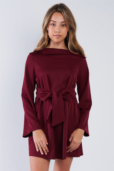 Meghan Straight Neck Solid Front-tie Dress