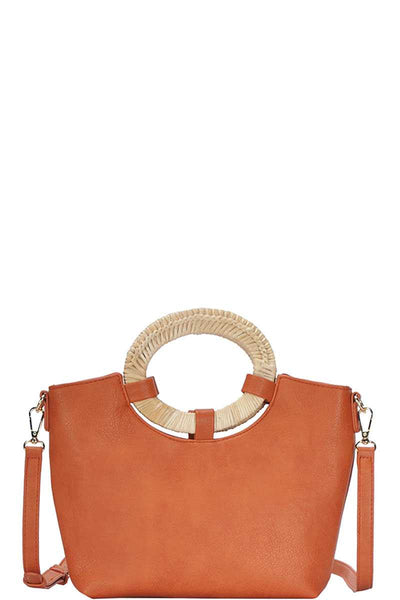 Harlow Natural Woven Handle Satchel With Long Strap