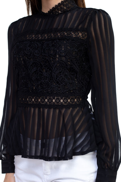 Sonia Sheer Stripe Embroidered Shirt