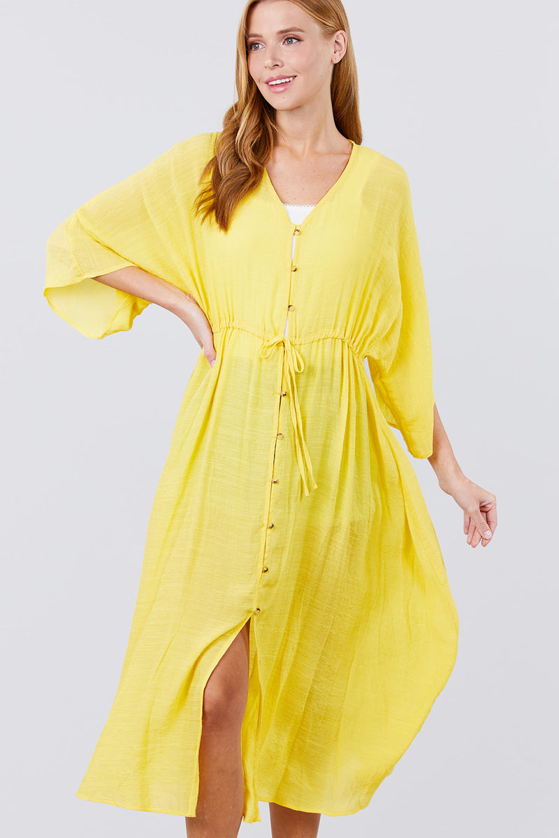 Winifred Waist Ribbon Tie Button Down Long Woven Cardigan
