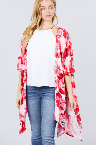 Tropical Days Print Kimono Cardigan (red)