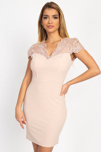 Wifey Blush Back Cutout Floral Lace Mini Dress