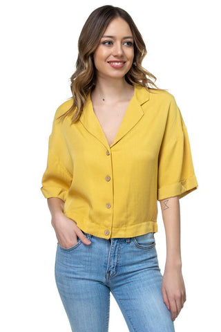 Blair Yellow Boxy Button Down Shirt