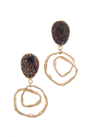 Tortoise Hammered Teardrop Earring