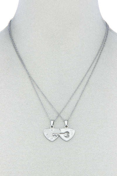 Rebecca Double Heart Key Necklace Set