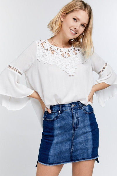 Cartagena Floral Mesh Lace Accent Yoke Crochet Detailed Tie-back Bell Sleeve Blouse Top