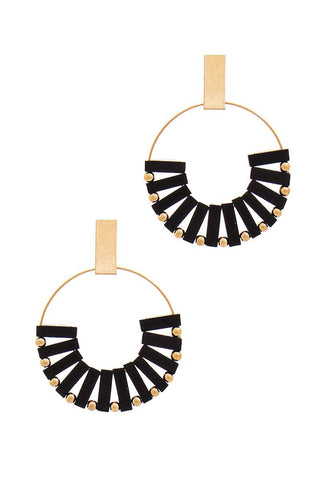 Aztec Wooden Bead Hoop Earrings