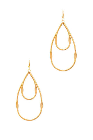 Callista Gold Double Tear Drop Out Line Earring