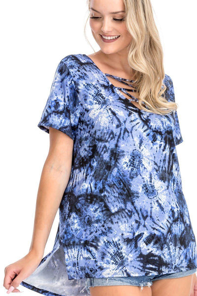 Havana Tie Dye Print Short Sleeve Top
