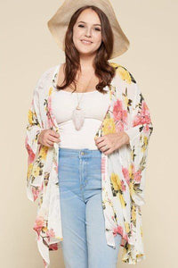 Mary Ann Floral Printed Oversize Flowy And Airy Kimono With Dramatic Bell Sleeves