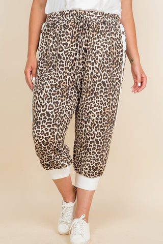 Its So Cute Animal Print French Terry Cropped Jogger Pants