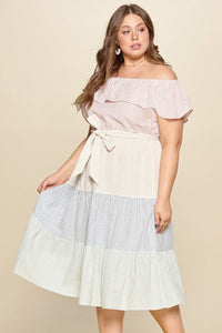 By The Coast Tiered Off-shoulder Flounce Dress Featuring Stripe Details And Self Ties.