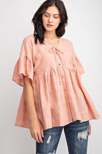 Coral Luxe Bell Sleeve Cotton Gauze Button Front Tunic