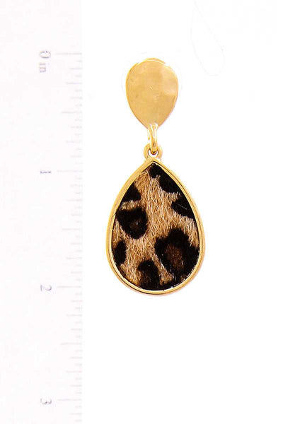 Leopard Print Fur Tear Drop Earring (In White and Brown)