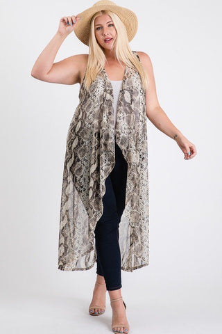 Serpentine Sheer Sleeveless Long Kimono Vest