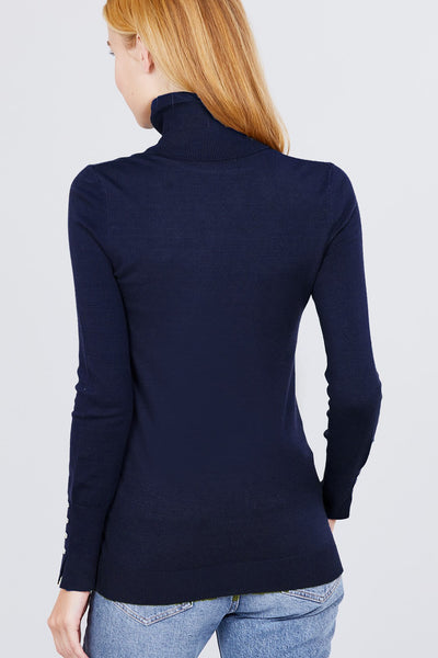 Tabitha Button Detail Turtle Neck Viscose Sweater