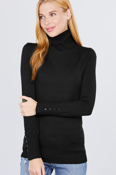 Tabitha Metal Button Detail Turtle Neck Viscose Sweater