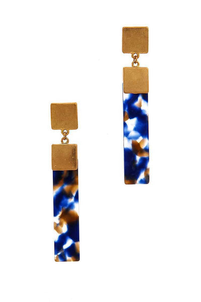 Chic Rectangle Tortoise Drop Earring