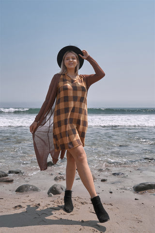 Pumpkin Spice Gingham Short Sleeve Sweater Mini Dress