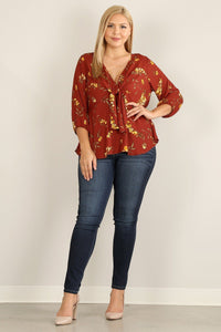 Autumn Rust Floral Print Blouse