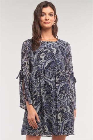 Brianne Navy Paisley Print Loose Fit Trumpet Sleeve Self-tie Detail Mini Dress