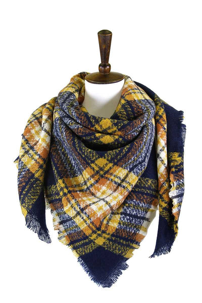 Primrose Plaid Square Blanket Scarf (Available in multiple colors)