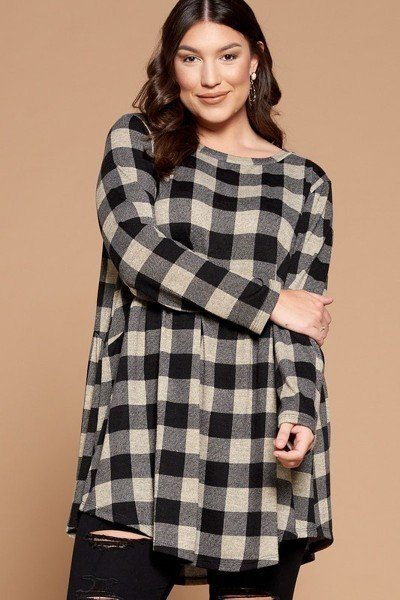Gingerbread Soft Knit Buffalo Plaid Tunic Top