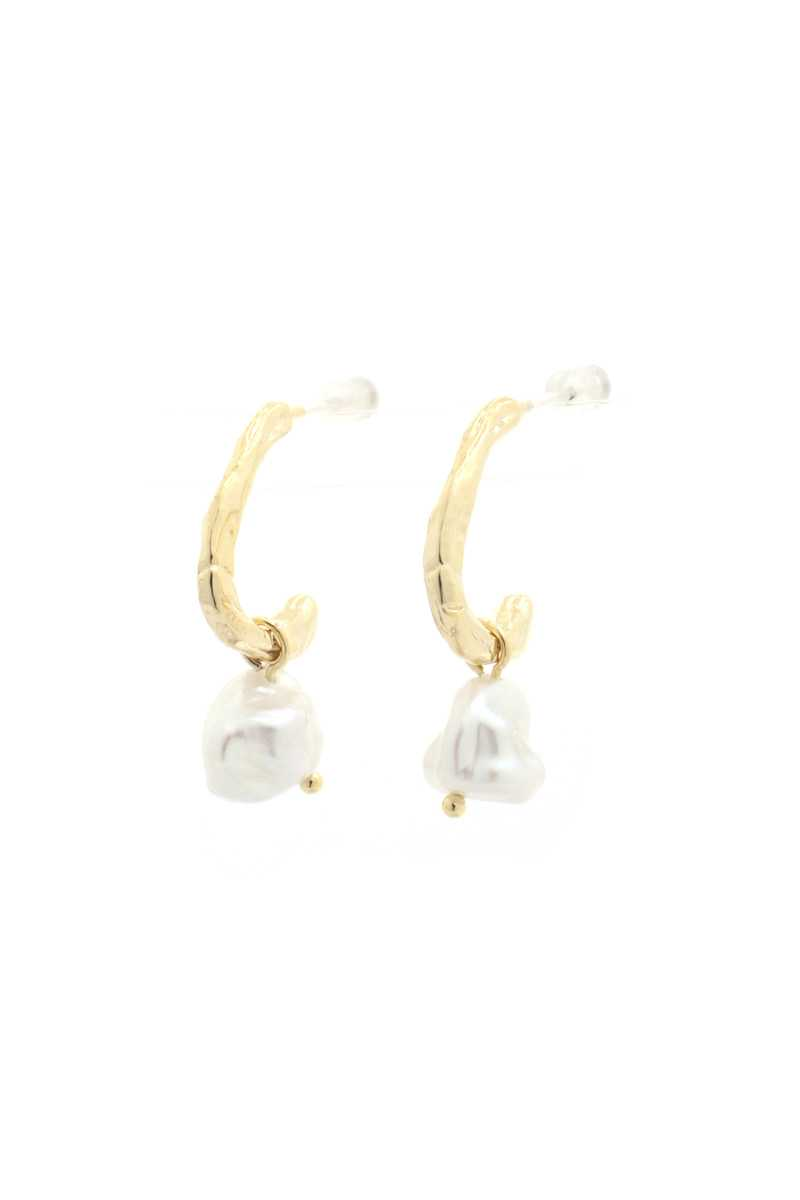 Open Circle Peral Bead Earring