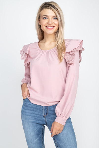 Balloon Sleeve Lace Ruffle Top