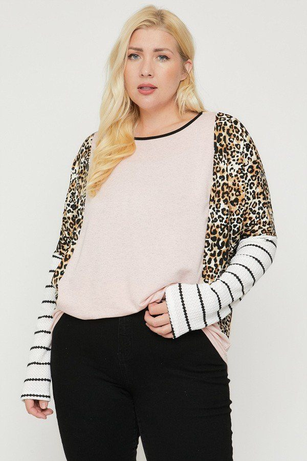 Plus Size Cheetah Print  Long Sleeve Top