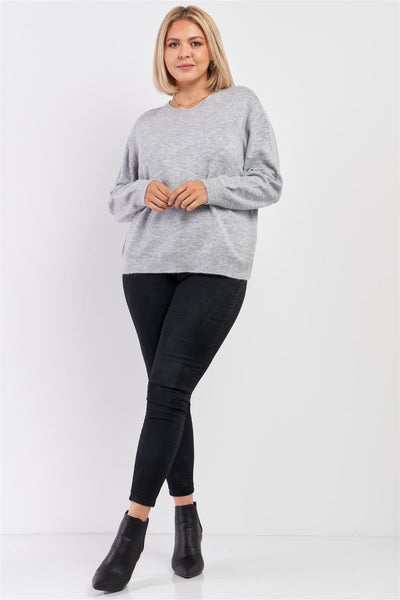 Plus Size Heather Grey Soft Ribbed Fleece Long Sleeve Sweater