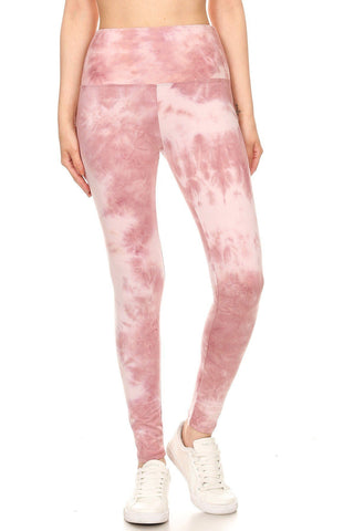 Beautiful Day Tie Dye Printed Knit Legging With High Waist (Pink)
