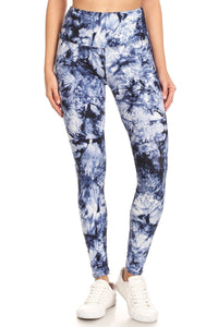 Beautiful Day Tie Dye Printed Knit Legging With High Waist (blue)