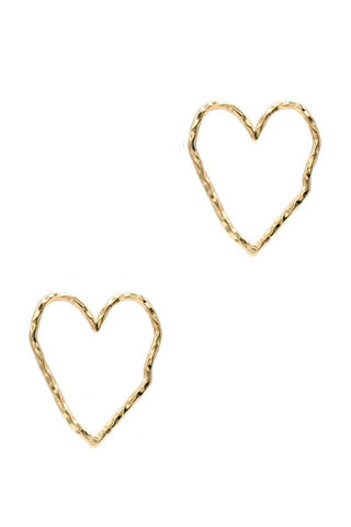 Rough Metal Heart Stud Earring