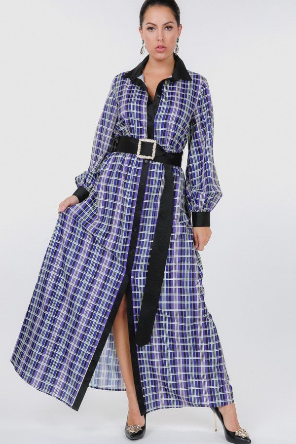 Plaid Shirt Maxi Dress With Gold Buckle Belt