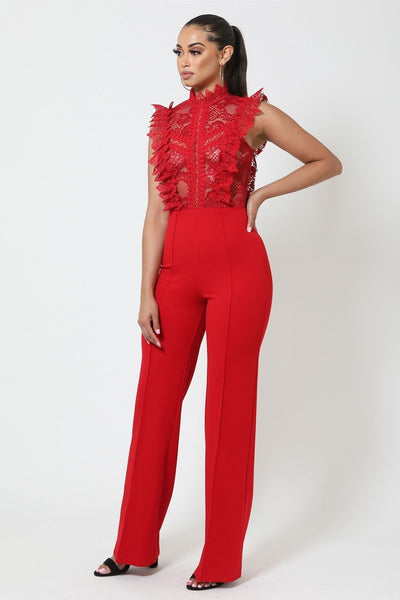Crochet Lace Combined Bodice Jumpsuit