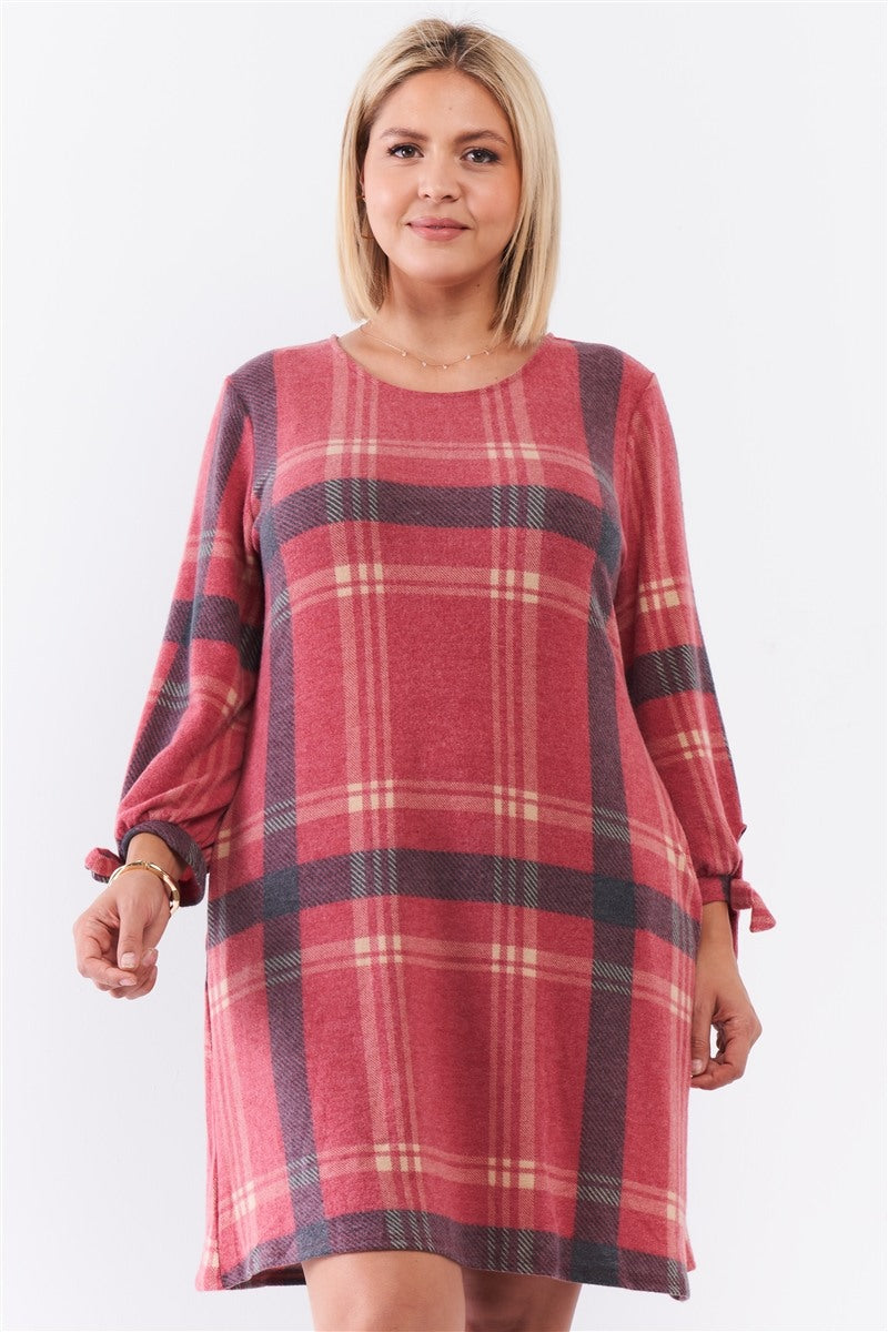 Plus Retro Red Plaid Bow Detail Midi Sleeve Relaxed Soft Mini Dress