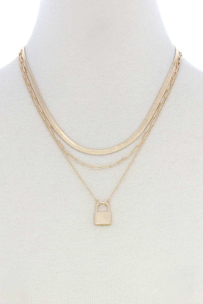 Lock Charm Flat Snake Chain Layer Necklace